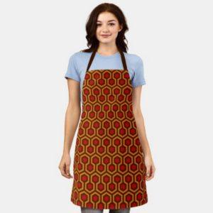 Room237 apron orange retro 1970s abstract pattern worn