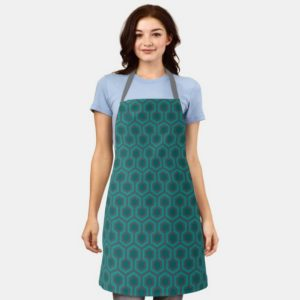 Room237 apron teal retro 1970s abstract pattern worn