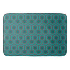 Room237 bath mat teal retro 1970s abstract pattern large