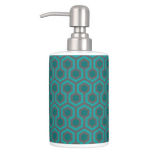 Room237 bath set soap dispenser teal retro 1970s abstract pattern