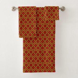 Room237 bath towel set orange retro 1970s abstract pattern