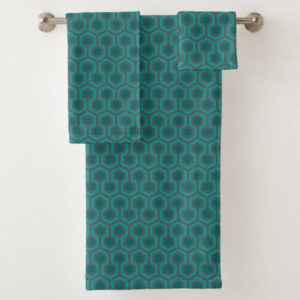 Room237 bath towel set teal retro 1970s abstract pattern