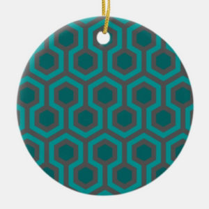 Room237 christmas circle ornament teal retro 1970s abstract pattern