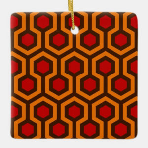 Room237 christmas square ornament orange retro 1970s abstract pattern