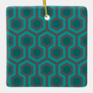 Room237 christmas square ornament teal retro 1970s abstract pattern