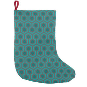 Room237 christmas stocking teal retro 1970s abstract pattern