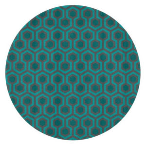 Room237 cutting board teal retro 1970s abstract pattern