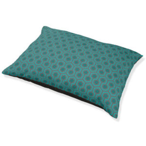 Room237 dog bed teal retro 1970s abstract pattern