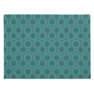Room237 door mat teal retro 1970s abstract pattern