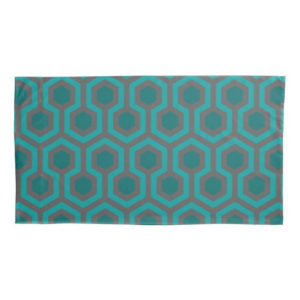 Room237 duvet pillow case king size teal retro 1970s abstract pattern