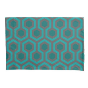 Room237 duvet pillow case standard size teal retro 1970s abstract pattern