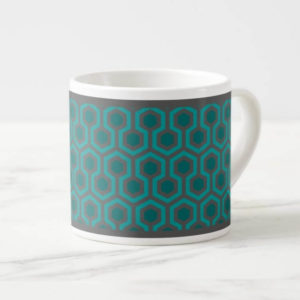 Room237 espresso cup teal retro 1970s abstract pattern angled