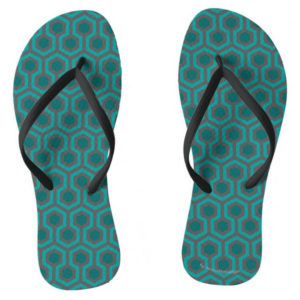 Room237 flipflops ladies teal retro 1970s abstract pattern