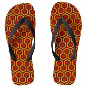Room237 flipflops mens orange retro 1970s abstract pattern