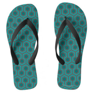 Room237 flipflops mens teal retro 1970s abstract pattern