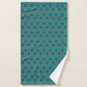 Room237 hand towel teal retro 1970s abstract pattern