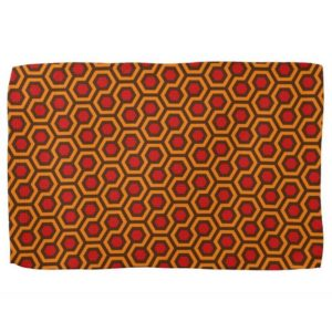 Room237 kitchen towel orange retro 1970s abstract pattern tilted