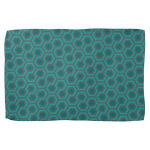 Room237 kitchen towel teal retro 1970s abstract pattern tilted
