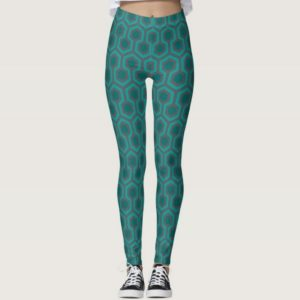 Room237 leggings teal retro 1970s abstract pattern