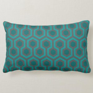 Room237 lumbar pillow teal retro 1970s abstract pattern