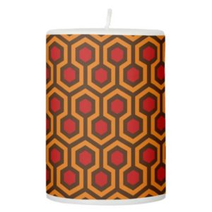 Room237 pillar candle orange retro 1970s abstract pattern