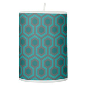 Room237 pillar candle teal retro 1970s abstract pattern
