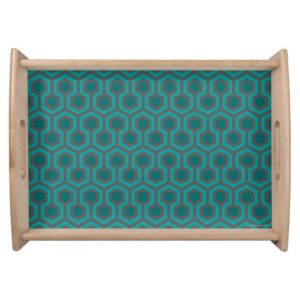 Room237 serving tray teal retro 1970s abstract pattern large