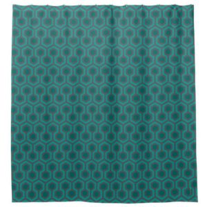 Room237 shower curtain teal retro 1970s abstract pattern