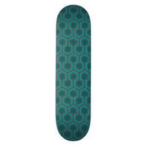 Room237 skateboard teal retro 1970s abstract pattern vertical