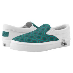 Room237 slip ons shoes teal retro 1970s abstract pattern
