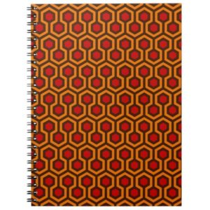Room237 spiral notebook orange retro 1970s abstract pattern