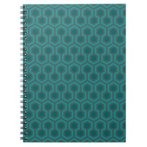 Room237 spiral notebook teal retro 1970s abstract pattern