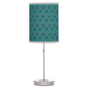 Room237 table lamp stand teal retro 1970s abstract pattern grey trim