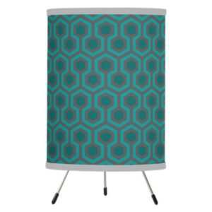 Room237 table lamp tripod teal retro 1970s abstract pattern grey trim