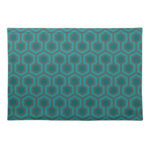 Room237 table placemat cloth teal retro 1970s abstract pattern large