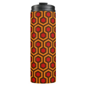 Room237 thermal tumbler orange retro 1970s abstract pattern