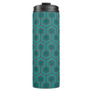 Room237 thermal tumbler teal retro 1970s abstract pattern