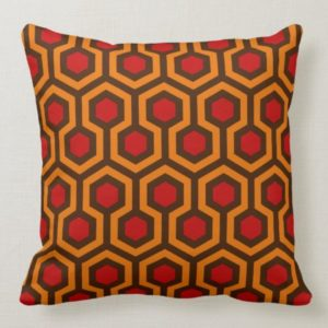 Room237 throw pillow orange retro 1970s abstract pattern