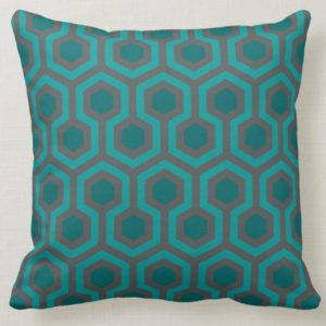 Room237 throw pillow teal retro 1970s abstract pattern