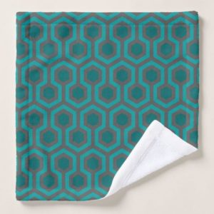 Room237 wash cloth teal retro 1970s abstract pattern