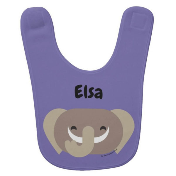 baby bib elephant purple cute animal friends