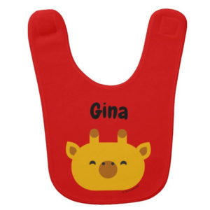 baby bib giraffe red cute animal friends