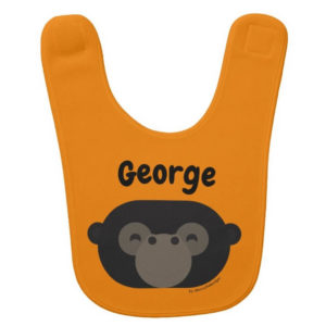 baby bib gorilla orange cute animal friends