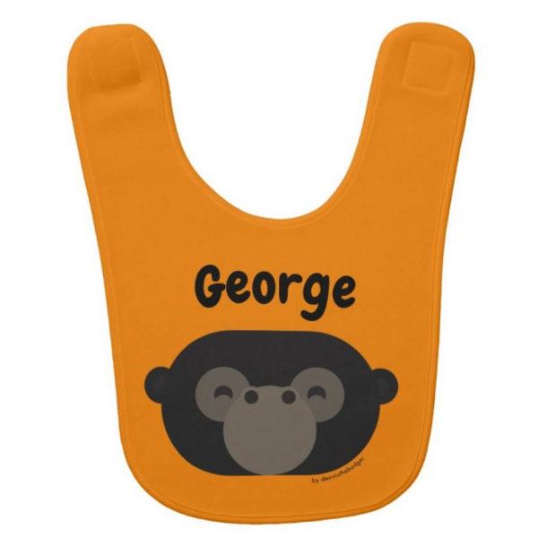 baby bib gorilla orange cute animal friends