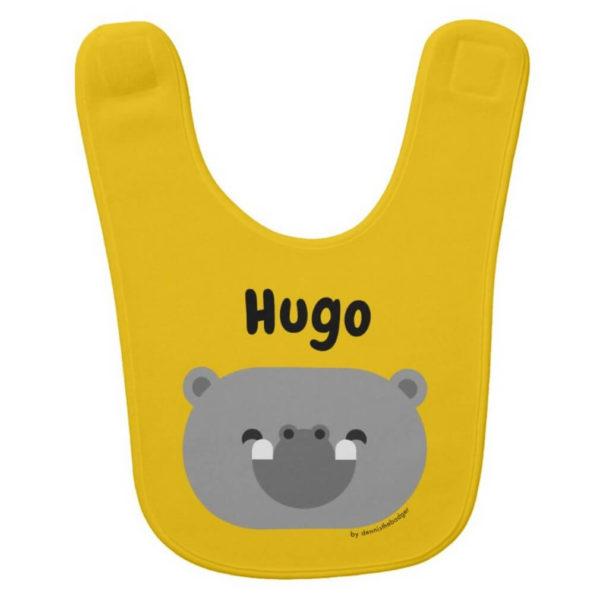 baby bib hippopotamus yellow cute animal friends