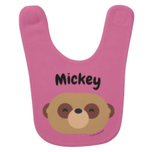baby bib meerkat white cute animal friends pink