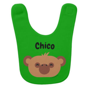 baby bib monkey green cute animal friends