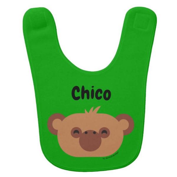 baby bib monkey green cute animal friends