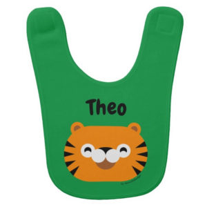 baby bib tiger green cute animal friends