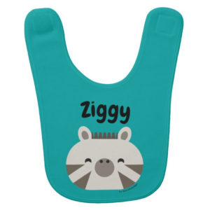 baby bib zebra teal cute animal friends